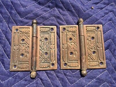 2 Beautiful Large Antique Eastlake Victorian Brass Door Hinges Ball  4""