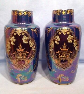 Crown Devon Pair Large Lustre Jars Vases