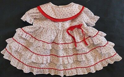 VTG Martha's Miniatures White+Red SS Dress Girl XL 24 mo EUC Ruffles PIC Pageant