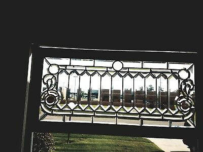 Fantastic Beveled Hand Ground Glass Panel Excellent Condition Ready To Stain