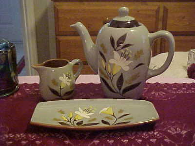 Stangl Golden Harvest Teapot, Creamer And Tray 3 Pieces