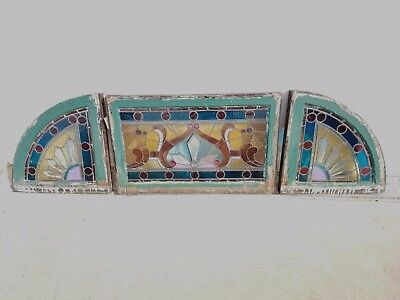 Antique Stained Glass Three Piece Transom From Bay City, Michigan