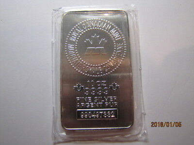 10 oz. Royal Canadian Mint RCM .9999 Silver bar Serial #990497332