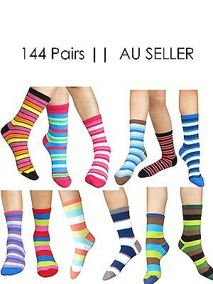 144 pairs of kids Striped Cotton Socks Size 1-7 year