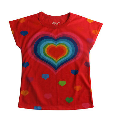 Red heart T-shirt for girls  - designed by deezo kids - FREE AU DELIVERY