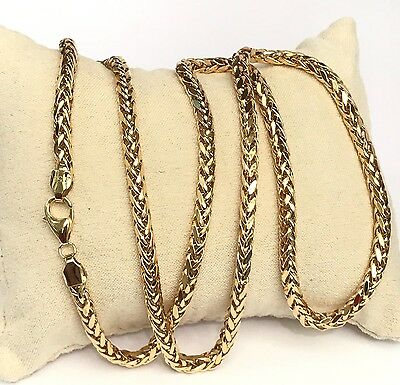 """18k Solid Yellow Gold Man Big Wheat Chain/Necklace Dimond Cut. 24"""". 17.70Grams"""