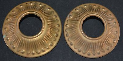 "Vintage Ornate Stamped Brass Lamp Bobesche Cap 3 7/16"" Wide Aged Patina Set of 2"