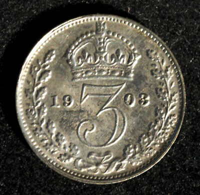 1903 GREAT BRITAIN 3 Pence Silver UNC Lots of luster!