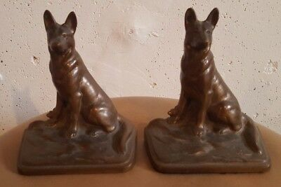 Vintage pre 1980s CAST IRON BRASS BRONZE GERMAN SHEPHERD BOOKENDS solid heavy
