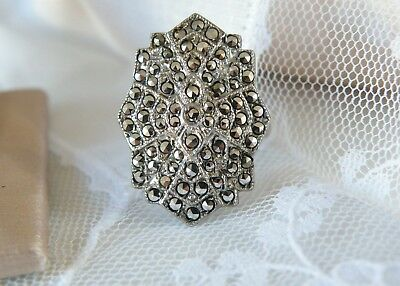 Antique Vintage Sterling Silver 925 Marcasite Art Deco 1920s Ring Size 6