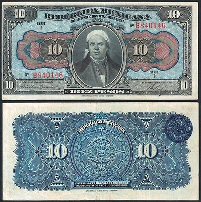 "#0044: Republica Mexicana ""infalsificables"" 10 Pesos - M1257 - Vf"