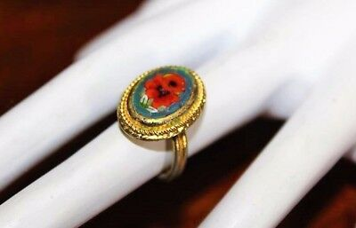 Vintage Italian Micro Mosaic Gold Tone Red Flower Bouquet Adjustable Ring RG1
