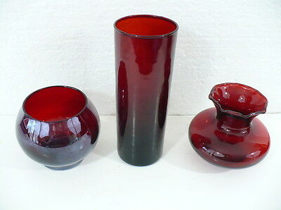 Ruby set of (3) Beautiful Vases round, tapered, and bulb with rippled rim