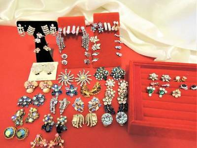 Huge Lot Of Vintage Rhinestone Clip Earrings*40 Pair*designer Signed+