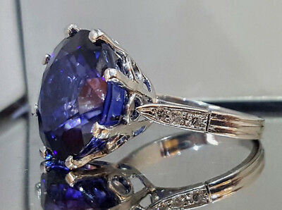 Vintage 14K White  Gold Ring 17.46Ct. Natural  Blue Sapphire Round