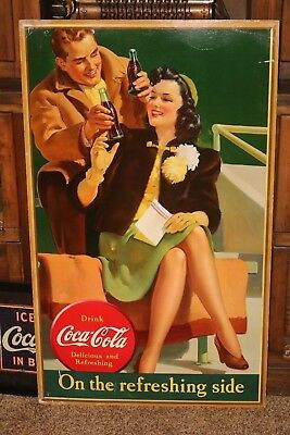 Rare 1941  Large Coca Cola Cardboard Sign  On The Refreshing Side  Stadium /girl