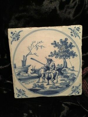 Antique Delft Blue/White Tile Herdsman With Two Cows Hand Ptd.