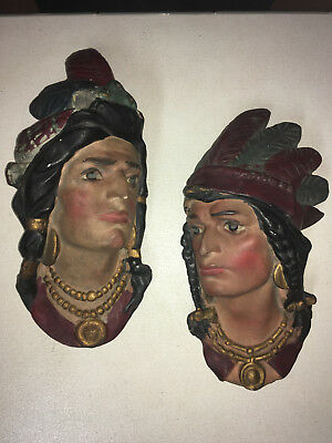 Pair of Antique EDWARDIAN CIGAR STORE Wall PLASTER Plaque CHIEF STATUES