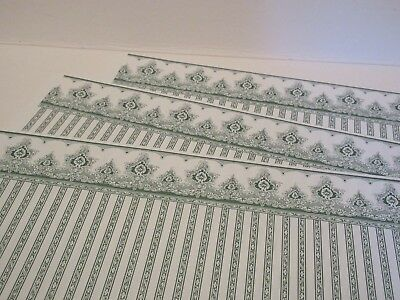 Miniature Dollhouse Wallpaper JHermes Victorian green/white set of 3 11x17""
