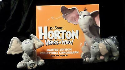 Dr. Suess' Horton Hears A Who Collectible Sp Ed Litho Best Buy + 2 plush NEW
