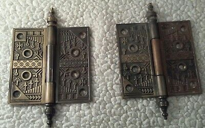 "Vintage Eastlake Style Steeple Top 4 1 2""x 4 1/×2"" Antique Door Hinges Pair"