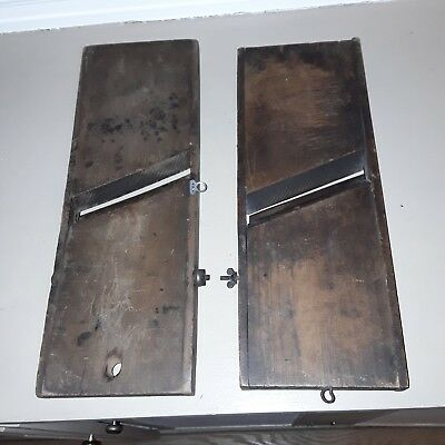 antique primitive slaw boards lot of two