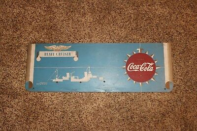 Rare !!  Kay Display Wood Sign - 1940's  Ww2  Heavy Cruiser Drink Coca Cola