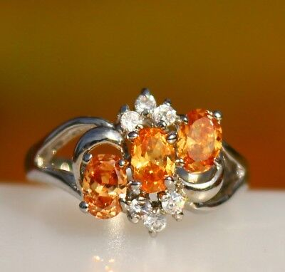 Gorgeous Orange faux sapphire - CZ oval stones silver tone RING size 9.5