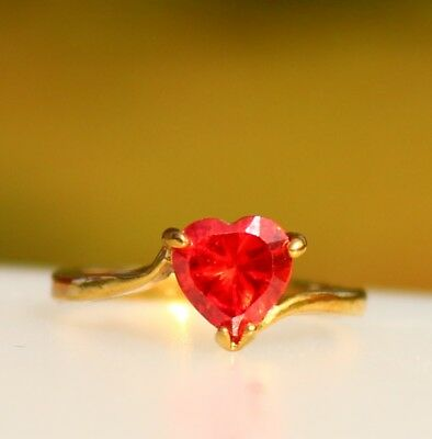 Red CZ heart gold tone RING size 6