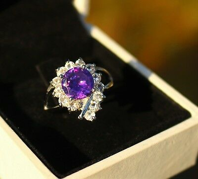 Silver tone Purple Tanzanite color and clear CZ stones  RING size 6.5