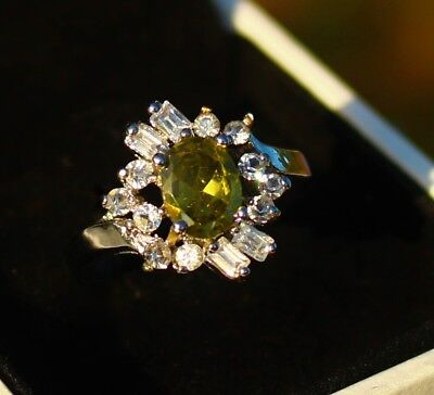 Silver tone Olivine color and clear  CZ cluster RING size 8.5