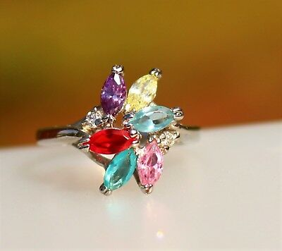 Red blue pink ... CZ stones - faux gemstones silver tone  RING size 7.5