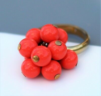 Peach color lucite bead cluster adjustable gold tone RING size 5