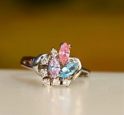 Blue purple pink navette CZ stones silver tone   RING size 7.5
