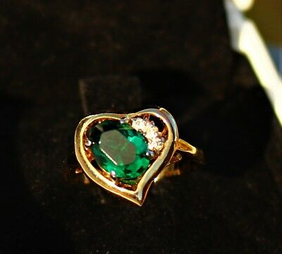 Gold tone heart green emerald color oval glass and clear CZ  RING size 5.5
