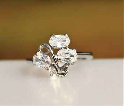 Three clear CZ oval stones silver tone   RING size 6