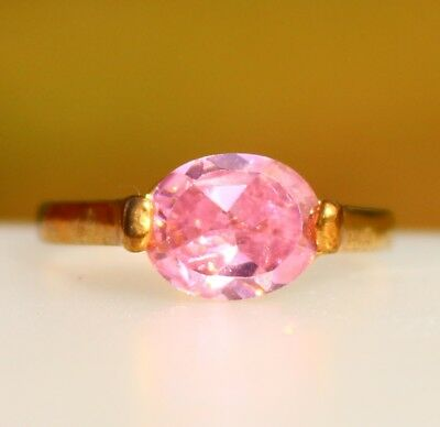Pink oval CZ gold tone ring RING size 7.5