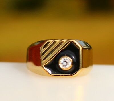 18K Gold plated black enamel clear CZ stone RING size 12