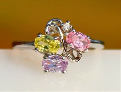 Oval purple pink yellow CZ stones silver tone RING size 8.5