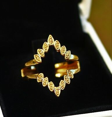 Gold tone textured rombus shape artistic   RING size 7