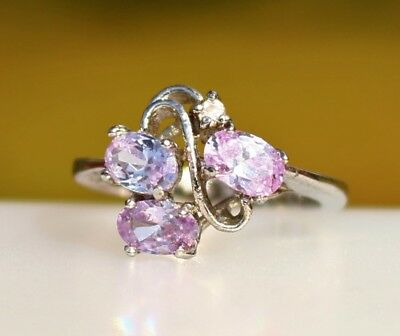Violet lavender color three oval CZ stones silver tone RING size 6