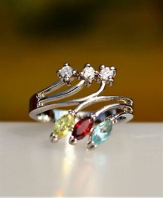 Yellow red blue navette CZ stones silver tone  RING size 8