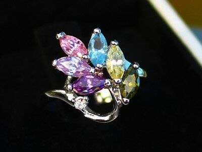Pink blue purple .. CZ stones cluster silver tone RING size 5.5