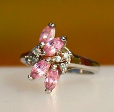 Four pink navette CZ stones silver tone  RING size 5.5