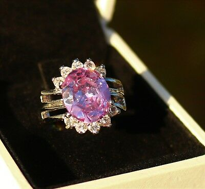 Large light purple Amethyst color and clear CZ stone silver tone  RING size 6