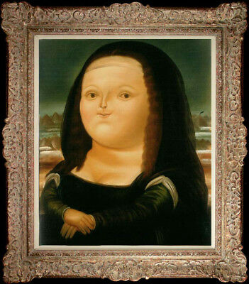 """24""""Hand-painted Oil painting Reproduction of Fernando Botero Mona Lisa on canvas"""