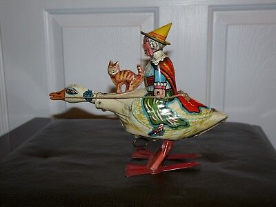 Antique Mother Goose Tin Wind Up Toy Marx With Cat Halloween Vintage