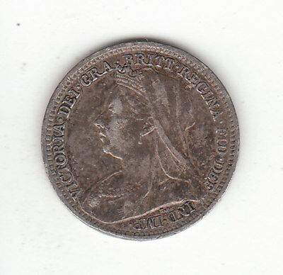 1898 Great Britain Queen Victoria Sterling Silver Threepence.