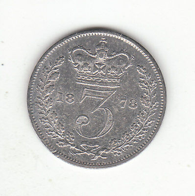 1878 Great Britain Queen Victoria Sterling Silver Threepence.