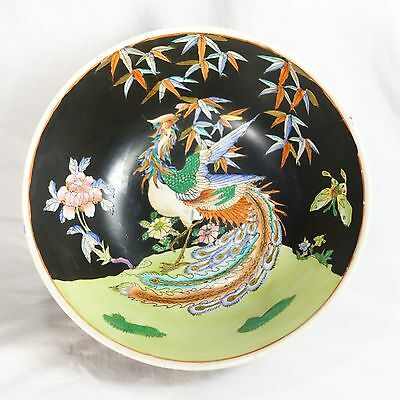 Vintage Chinese Painted Porcelain Bowl Bird Bamboo Floral Signed Black Gold Pink